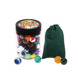 Marbles The Shooting Game, Toy Jar, Color Canvas Pouch, 48 Marbles with Shooters
