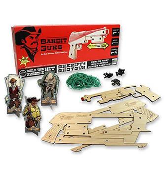 Bandit Guns Pump-Action Sheriff Shotgun Rubber Band Gun Craft Kit, Wood Finish