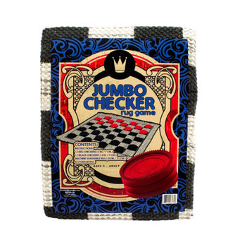"JUMBO Checker Board Woven Rug Game 28"" Square W/ 3"" Plastic Checkers"