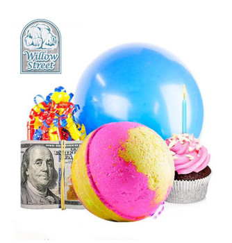 Birthday Cake , 7 oz Cash Bath Bomb, Real Money Inside! Willow Street