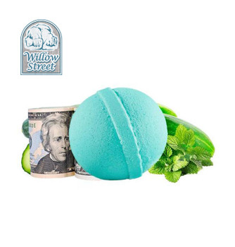 Cucumber Mint , 7 oz  Cash Bath Bomb, Real Money Inside! Willow Street