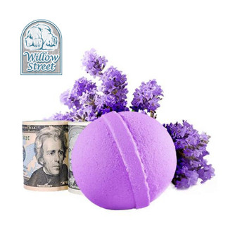 Lavender , 7 oz  Cash Bath Bomb, Real Money Inside! Willow Street