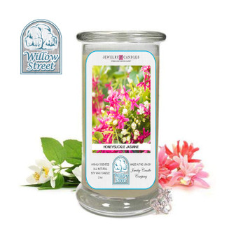 Honeysuckle Jasmine ,18 oz Jewelry Candle Surprize Prize Inside, Willow Street