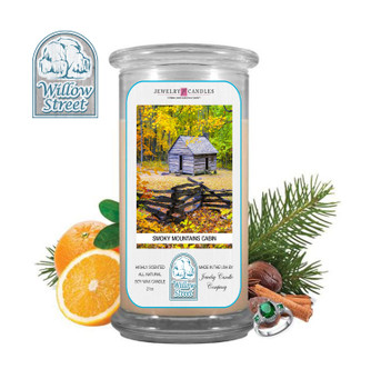 Smoky Mountains Cabin ,18 oz Jewelry Candle Surprize Prize Inside, Willow Street