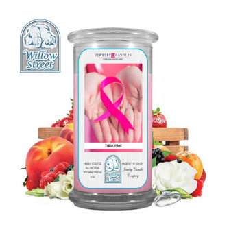 Think Pink ,18 oz Jewelry Candle Surprize Prize Inside, Willow Street
