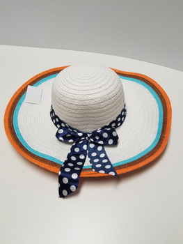 Multi Color Sun Hat Blue Polka Dot Strap