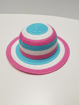 Multi Color Sun Hat, White, Pink, and Blue