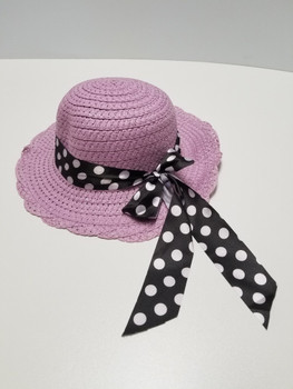 Purple Sun Hat with Blue Polka Dot Band