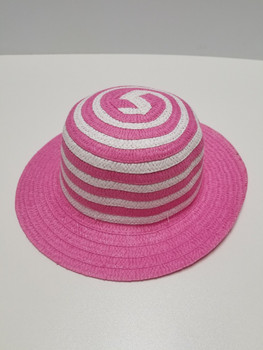 Pink and White Stipped Sun Hat