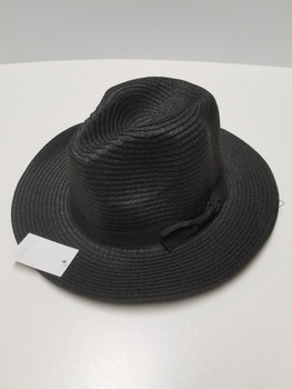 Black Sun Hat with brown band