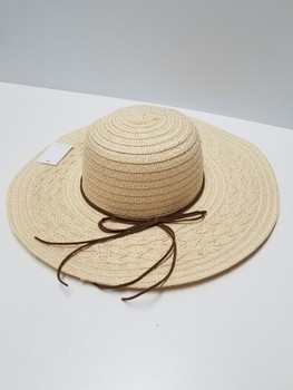 Light Brown Sun Hat Full Brim Hat with Brown String Band