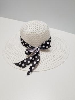 White Sun Hat with Blue Polka Dot Band