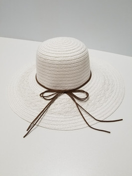 White Sun Hat, Full Brim Hat with Brown String Band
