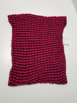 Two Color Dark Pink and Black Arcrylic Cashmere Infinity Scarf