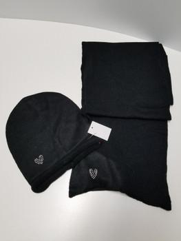 Black Heart Arcrylic Cashmere Scarf