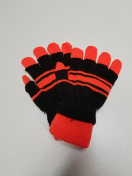 Black and Orange Stripped Acrylic Fiber Knitted Glove