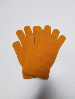 Single Color Orange Acrylic Fiber Knitted Glove