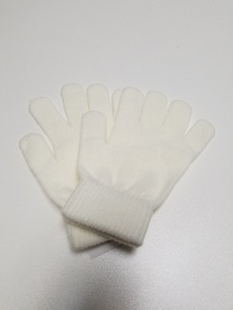 Single Color Cream Acrylic Fiber Knitted Glove