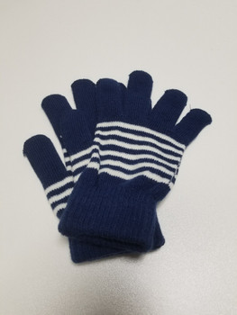 Two Color Blue and White Stripped Acrylic Fiber Knitted Glove