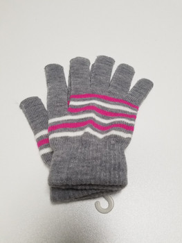 Grey, Pink and White Stripped Acrylic Fiber Knitted Glove