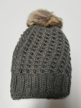 Double Layer Grey Acrylic Fiber Knitted Beanie