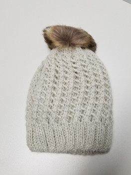 Double Layer White Acrylic Fiber Knitted Beanie