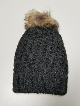 Double Layer Black Acrylic Fiber Knitted Beanie