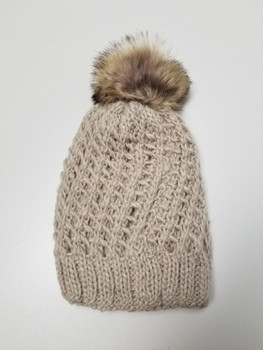 Double Layer Cream Acrylic Fiber Knitted Beanie