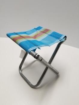 Light Blue and Orange Stripped Portable Chair Mini Folding Seat, BBQ Stool