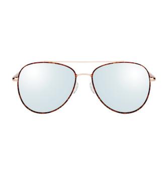 BING, Tortoise Shell With White Silver Mirror, High Fashion Italian Sunglasses