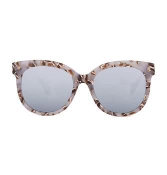 BRUM, Granny Chic With White Silver Mirror, High Fashion Italian Sunglasses