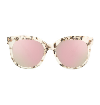 BUFFA, Ivory Floral With Pink Silver Mirror, High Fashion Italian Sunglasses