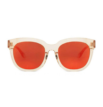 CINCIN, Crystal Cream With Orange Red Gold Mirror, High Fashion Sunglasses