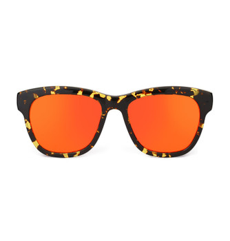 PIZZ, Lively Tortoise With Orange Red Gold Mirror, High Fashion Sunglasses