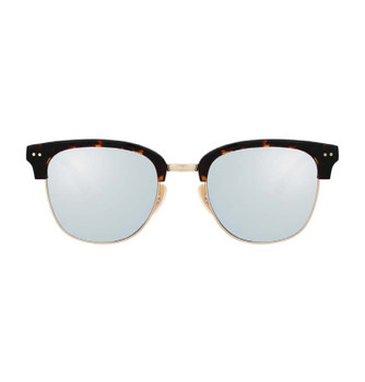 RENCE, Lively Tortoise With White Silver Mirror, High Fashion Italian Sunglasses