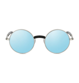 YAKI, Velvety Silver With Blue Silver Mirror, High Fashion Italian Sunglasses