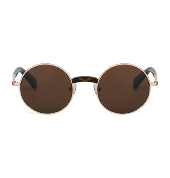 YOMI, Rose Gold With Polarized Amber, High Fashion Italian Sunglasses