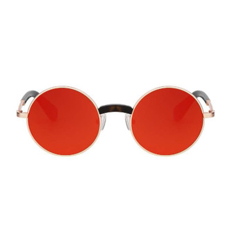 YOMI, Rose Gold With Orange Red Gold Mirror, High Fashion Italian Sunglasses