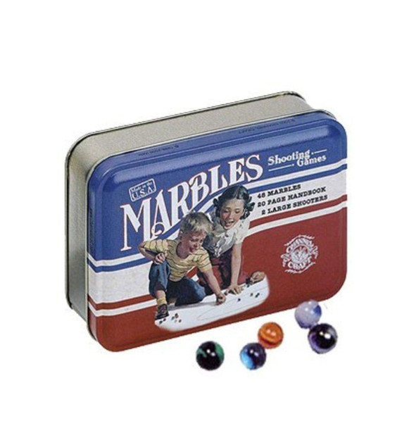 Channel Craft, Marbles in a Classic Toy Tin, Marble Game, Vintage Toys