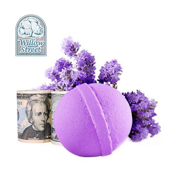 Lavender , 7 oz  Cash Bath Bomb, Real Money Inside! Willow Street