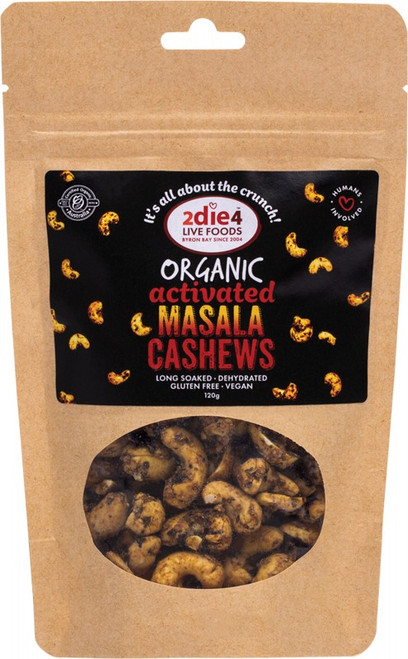 2Die4 Live Foods Organic Activated Masala Cashews  120g