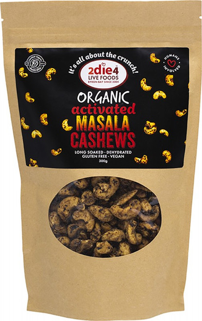 2Die4 Live Foods Organic Activated Masala Cashews  300g