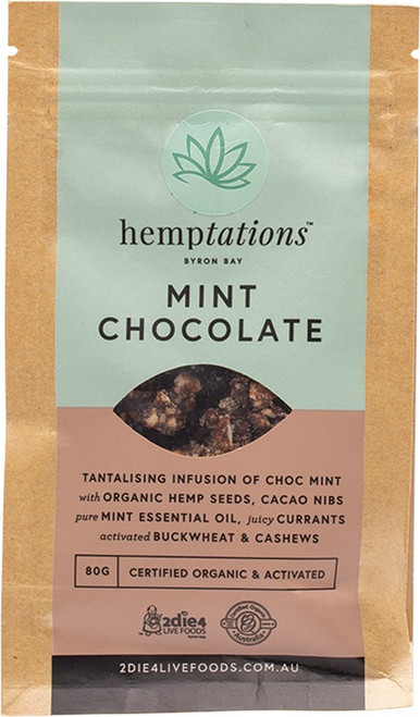2Die4 Live Foods Hemptations Mint Chocolate 80g