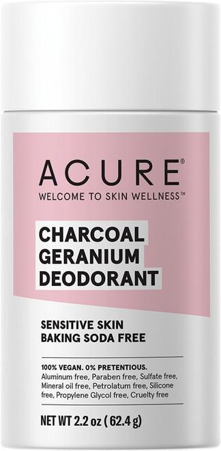Acure Deodorant Stick Baking Soda Free Charcoal Geranium 63g