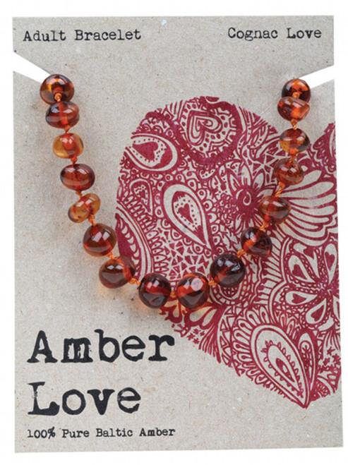 Amber Love Adult's Bracelet 100% Baltic Amber Cognac Love 20Cm