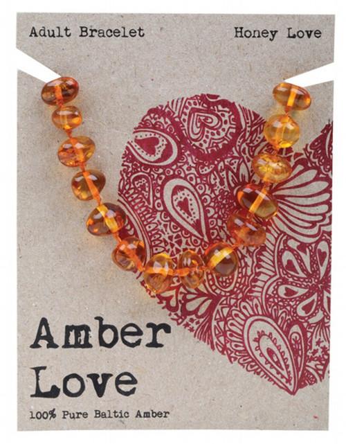Amber Love Adult's Bracelet 100% Baltic Amber Honey Love 20Cm