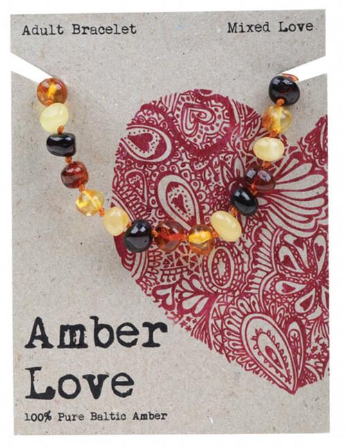 Amber Love Adult's Bracelet 100% Baltic Amber Mixed Love 20cm