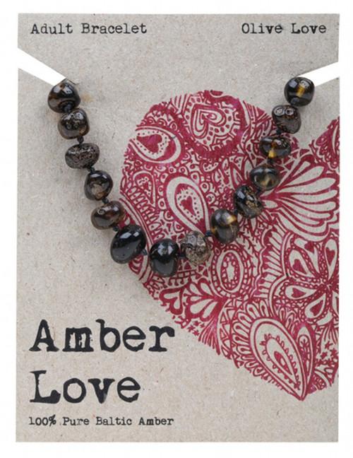 Amber Love Adult's Bracelet 100% Baltic Amber Olive Love 20Cm