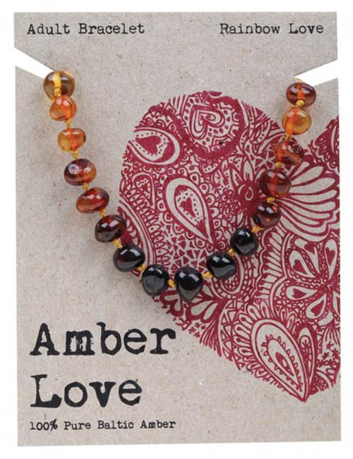 Amber Love Adult's Bracelet 100% Baltic Amber Rainbow Love 20Cm
