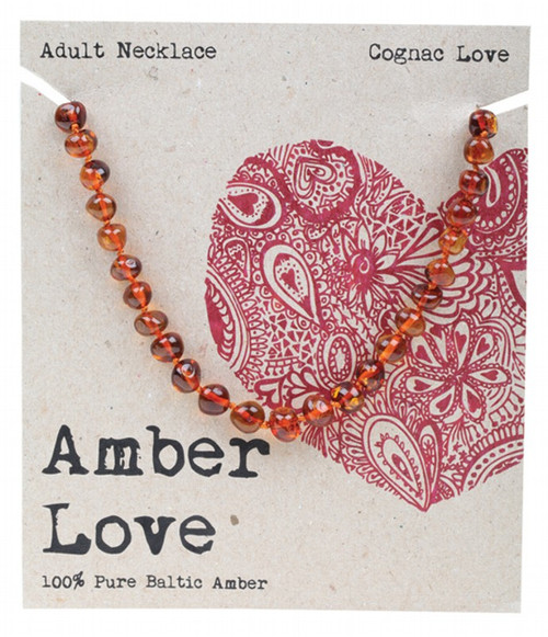 Amber Love Adult's Necklace 100% Baltic Amber Cognac Love 46Cm